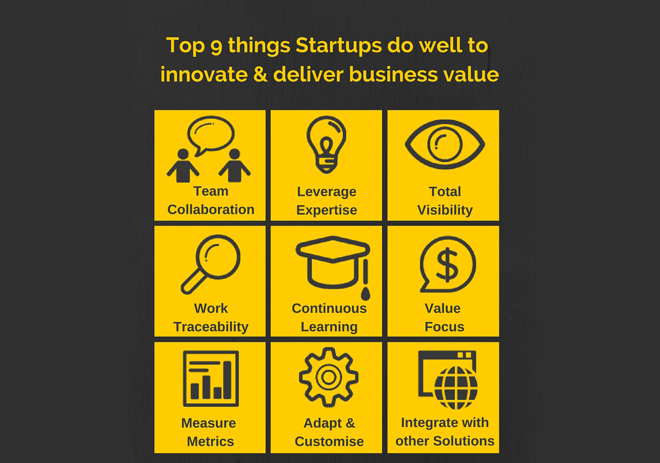 Top 9 things Startups do well to innovate & deliver business value
