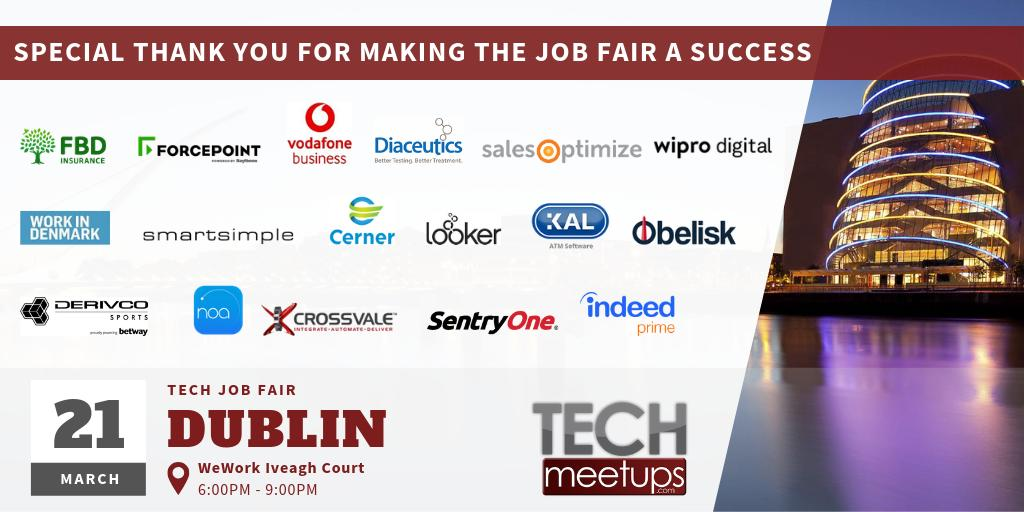 THANK YOU FOR PARTICIPATING IN DUBLIN TECH JOB FAIR 2019 BY TECHMEETUPS.COM