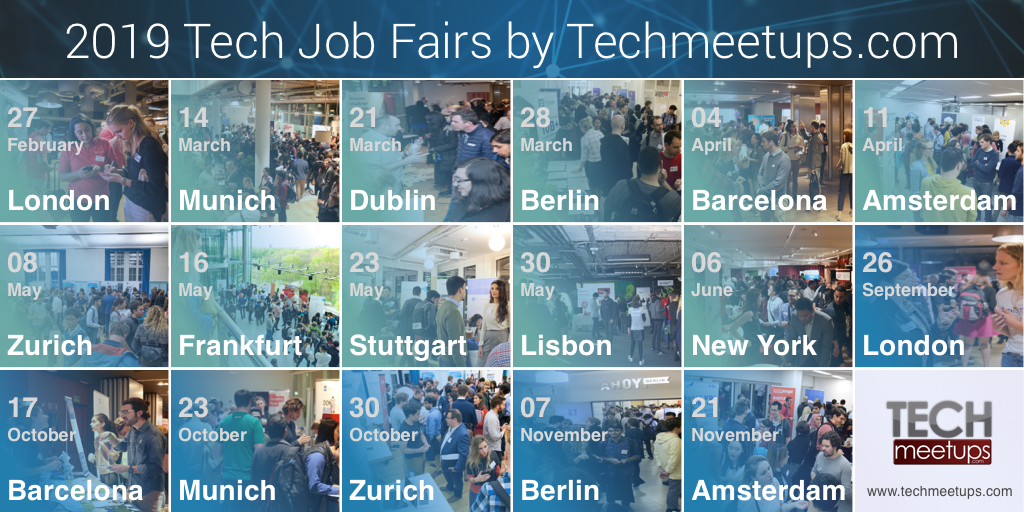 2019 Tech Job Fairs by Tech Meetups