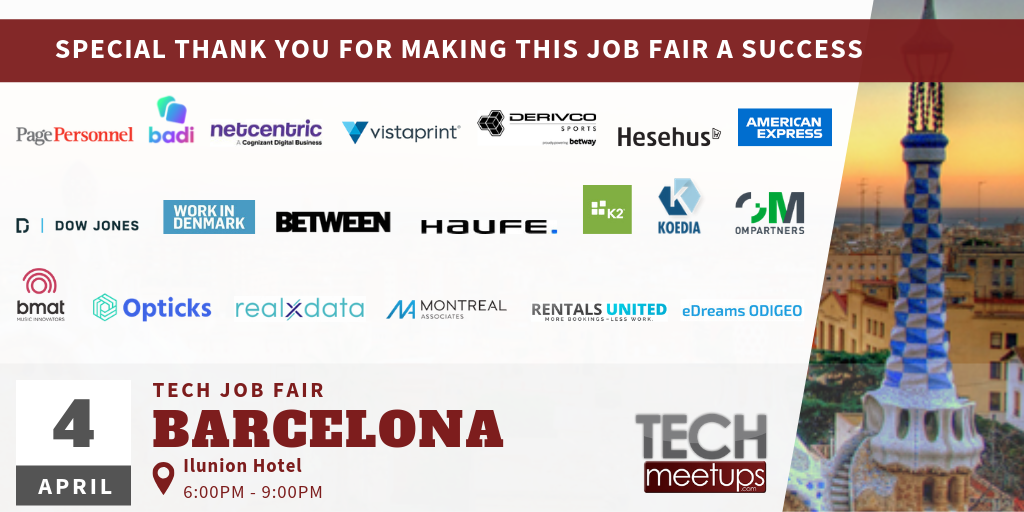 THANK YOU FOR PARTICIPATING IN BARCELONA TECH JOB FAIR 2019 BY TECHMEETUPSCOM