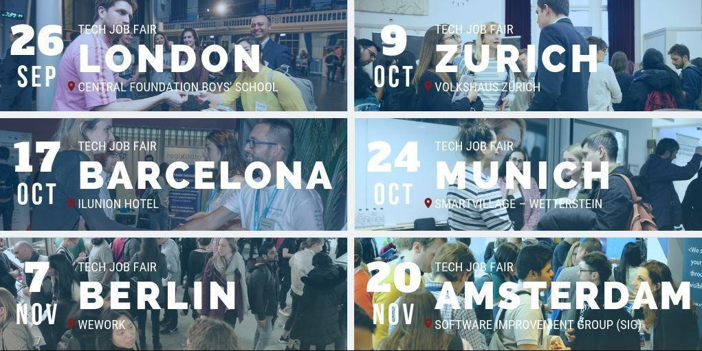 TechMeetUps Upcoming Job Fairs Autumn 2019