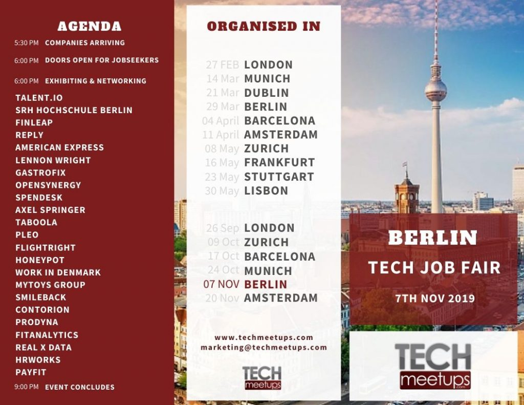 Berli Tech Job Fair Autumn 2019 Agenda