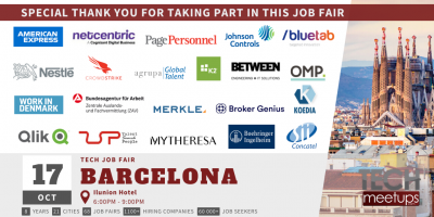 Thank You For Participating in Barcelona Tech Job Autumn Fair 2019 by TechMeetUps.com