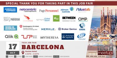 Thank You For Participating in Barcelona Tech Job Autumn Fair 2019 by TechMeetUps.com