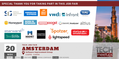 Thank You For Participating at Amsterdam Tech Job Autumn Fair 2019 by TechMeetUps.com