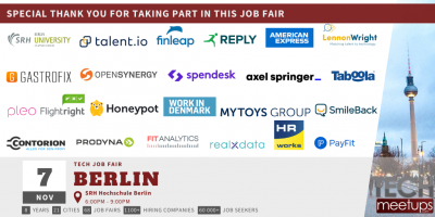 Thank You For Participating at Berlin Tech Job Autumn Fair 2019 by TechMeetUps.com