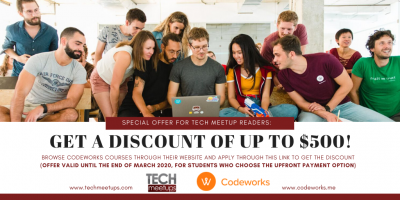 500 discount via TechMeetUps CODEWORKS Barcelona Tech Job Fair Spring 2020