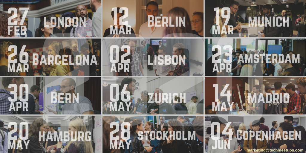 TechMeetUps upcoming events in 2020